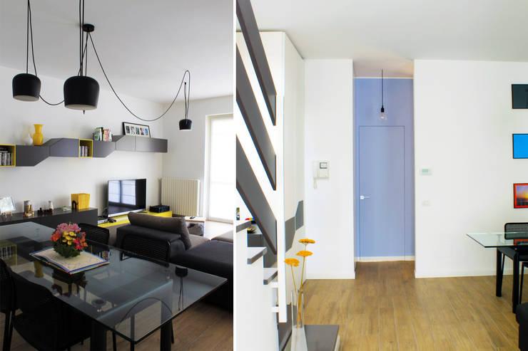 Milano - San Siro, Soggiorno e Disimpegno: Case in stile  di Davide Mori Studio Architettura e Design, Moderno
