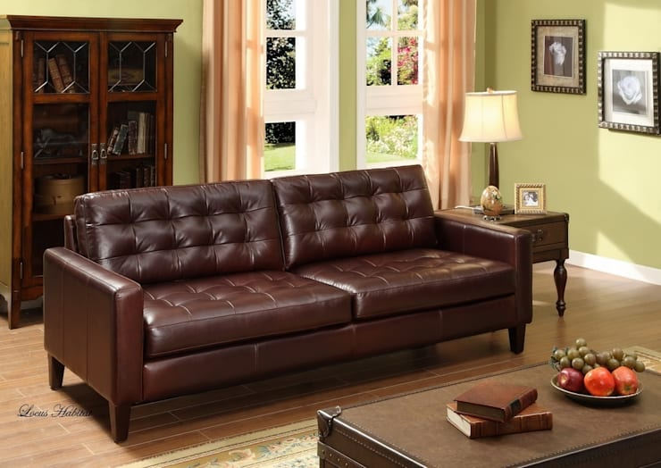 Leather Sofa from Locus Habitat:  Living room by Locus Habitat