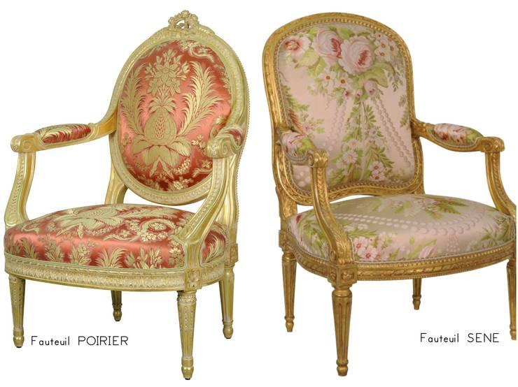 Les fauteuils d'apparat par Balcaen: Salon de style  par BALCAEN Mobilier de style, Paris
