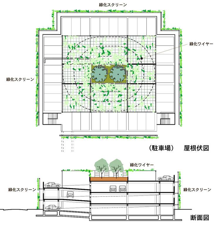 緑の風景をつくる立体駐車場: ユミラ建築設計室が手掛けたです。