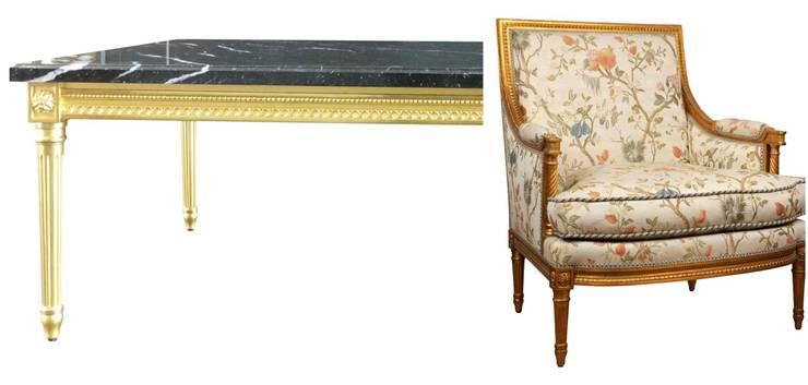 La marquise et table basse LELARGE: Salon de style  par BALCAEN Mobilier de style, Paris