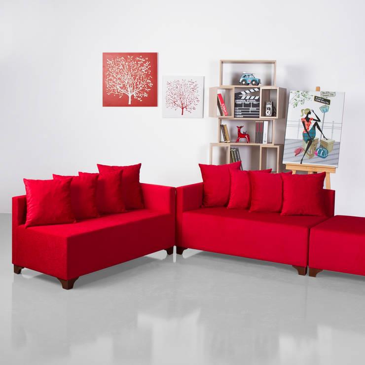 K105 Mobilya Pazarlama Danışmanlık San.İç ve Dış Tic.LTD.ŞTİ. – Angora Köşe Kırmızı:  tarz Oturma Odası,