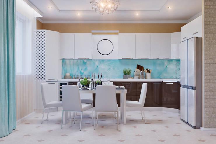 Гостиная с камином  в морском стиле: Кухни в . Автор – Студия дизайна Interior Design IDEAS