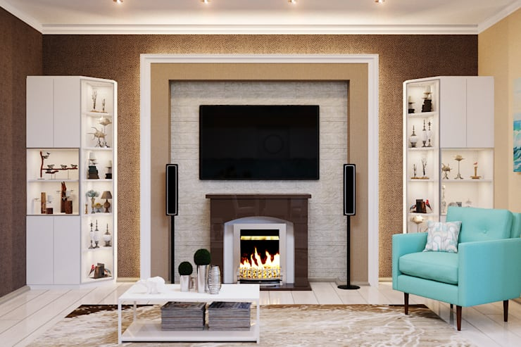 Гостиная с камином  в морском стиле: Гостиная в . Автор – Студия дизайна Interior Design IDEAS