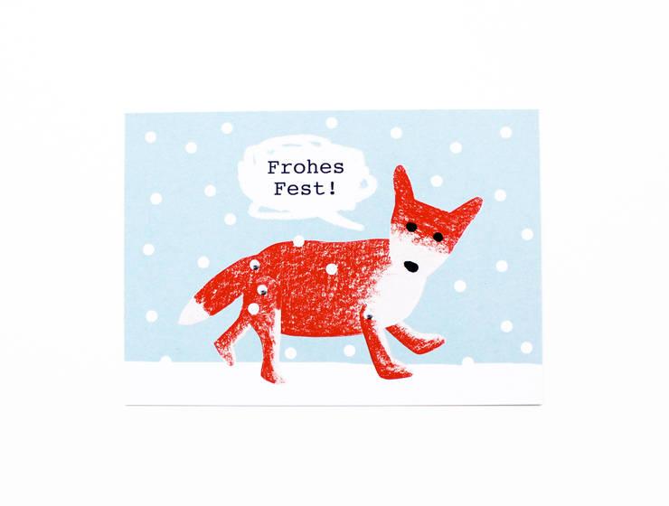 """Grußkarte """"Weihnachtsfuchs"""": modern  von mimifaktur,Modern"""