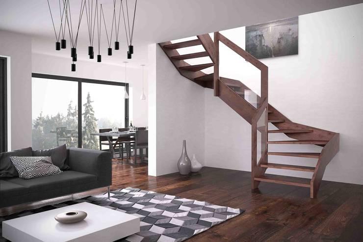 Scale interne in legno firmate Rintal: Ingresso, Corridoio & Scale in stile in stile Moderno di Rintal