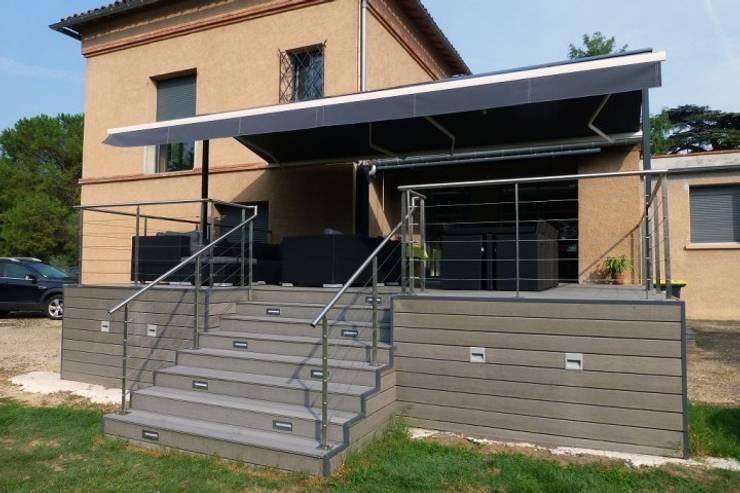 Terrasse Leroy: Balcon, Veranda & Terrasse de style  par OpteamDesign