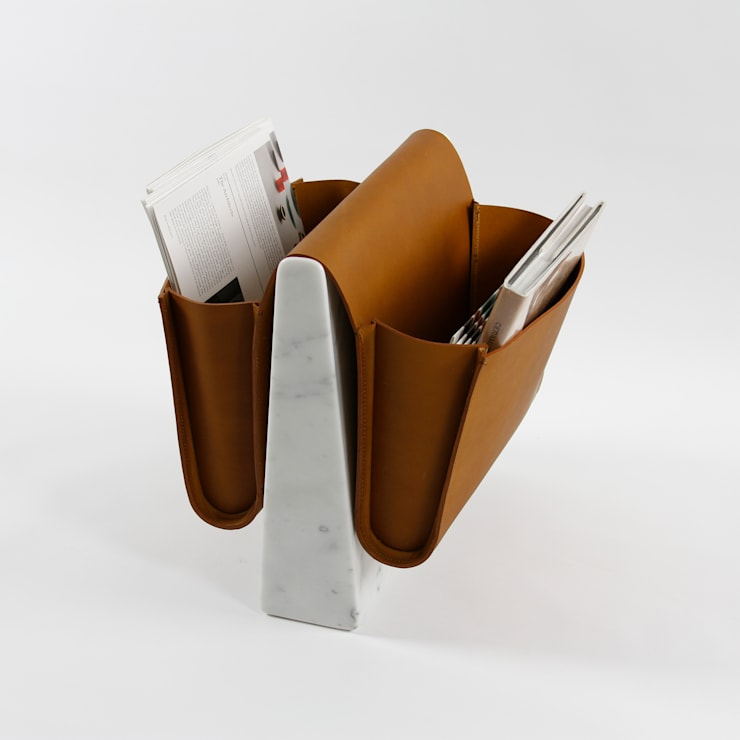 Saddle Magazine Rack - Marble:  Living room by Noble and Wood