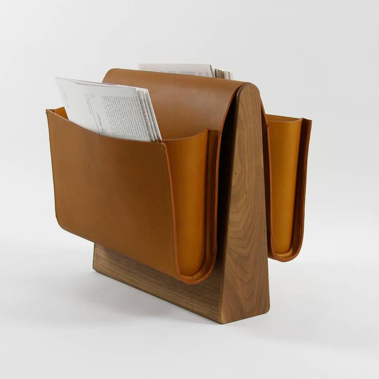 Saddle Magazine Rack - Walnut:  Living room by Noble and Wood