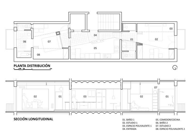 PLANTA Y SECCIÓN:  de estilo  de Miel Arquitectos
