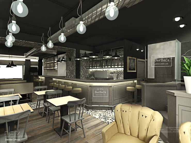 BurBaCa #1 burger bakery cafè: Gastronomia in stile  di Davide Coluzzi DAZ architect