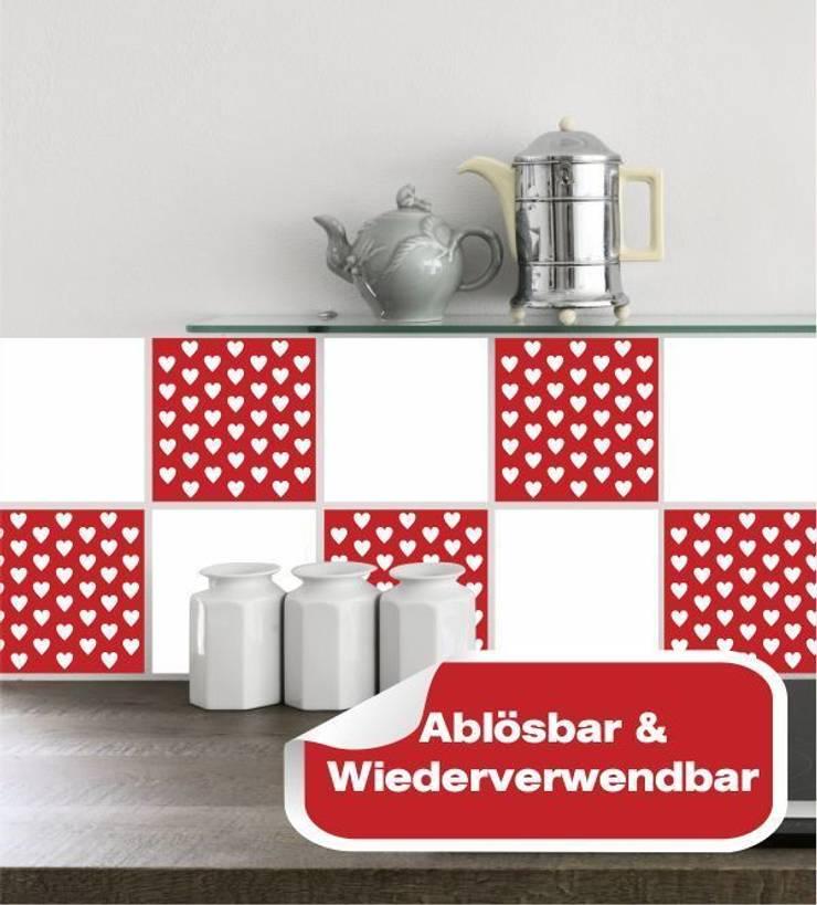 Fliesensticker Herzchen Rot:  Esszimmer von www.wandtattoo-home.de,Klassisch