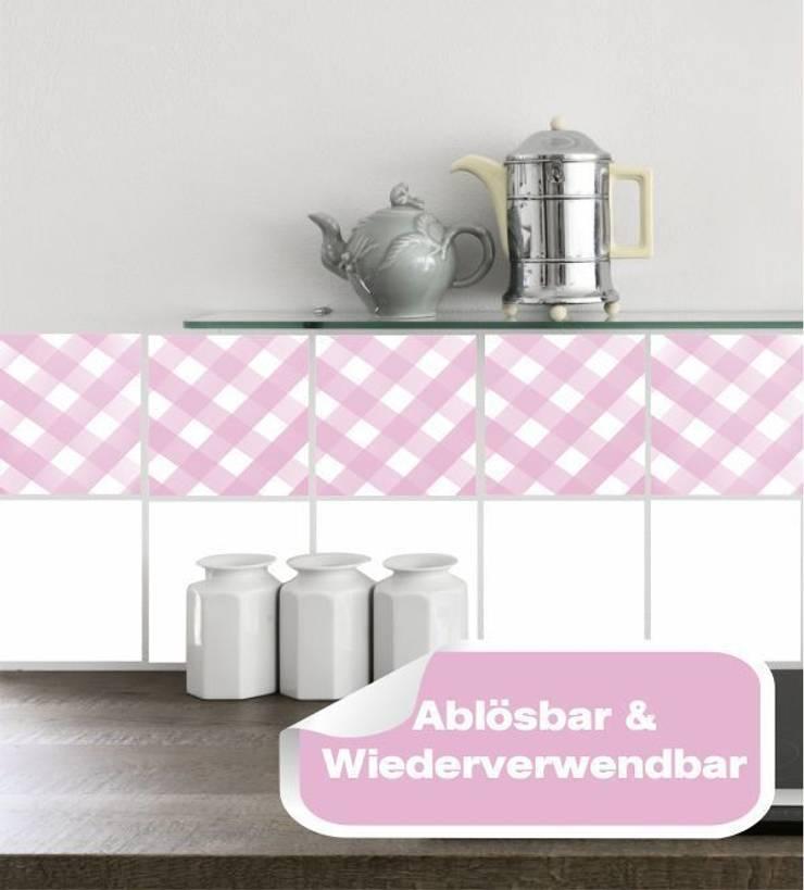 Fliesensticker Rosa kariert :  Esszimmer von www.wandtattoo-home.de,Klassisch