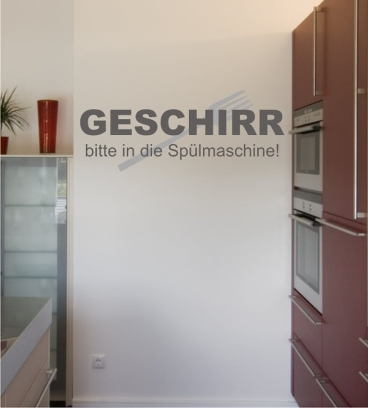 Geschirr bitte... als Wandtattoo:  Esszimmer von www.wandtattoo-home.de,Klassisch