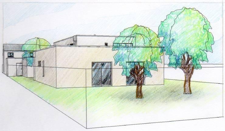 Maison contemporaine en cours de réalisation: Maisons de style  par Coutant Architecte