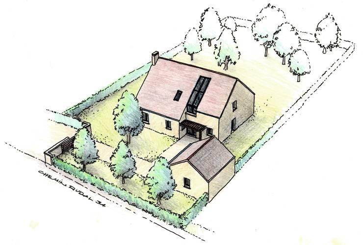 Maison rurale à Chevreuse: Maisons de style  par Coutant Architecte