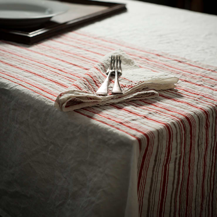 Hand block printed linen tablecloth: rustic Dining room by AllÓRA