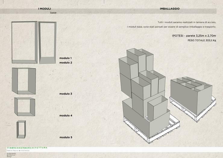 studio del modulo : Negozi & Locali commerciali in stile  di viabrenneroarchitettura, Industrial