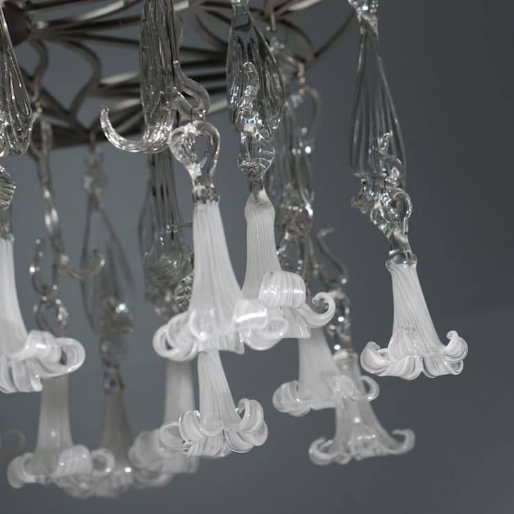 Glass chandelier  with white flowers - detail:  Corridor, hallway & stairs by A Flame with Desire