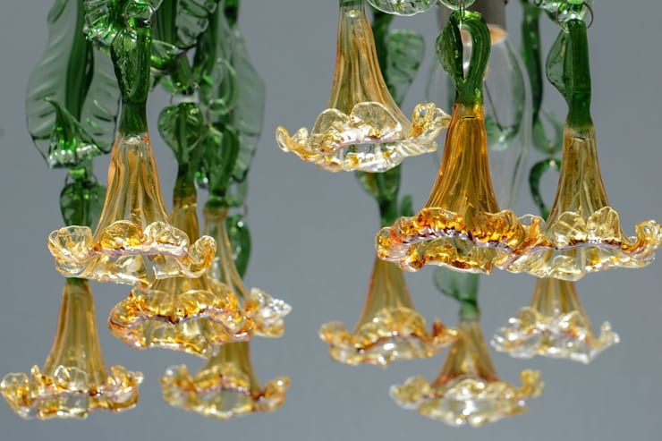 Glass chandelier  with amber flowers and leaves:  Corridor, hallway & stairs by A Flame with Desire