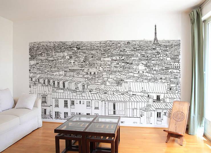 Papier peint Vue de Paris Invalides Tour Eiffel Panoramique: Murs & Sols de style de style Moderne par Ohmywall