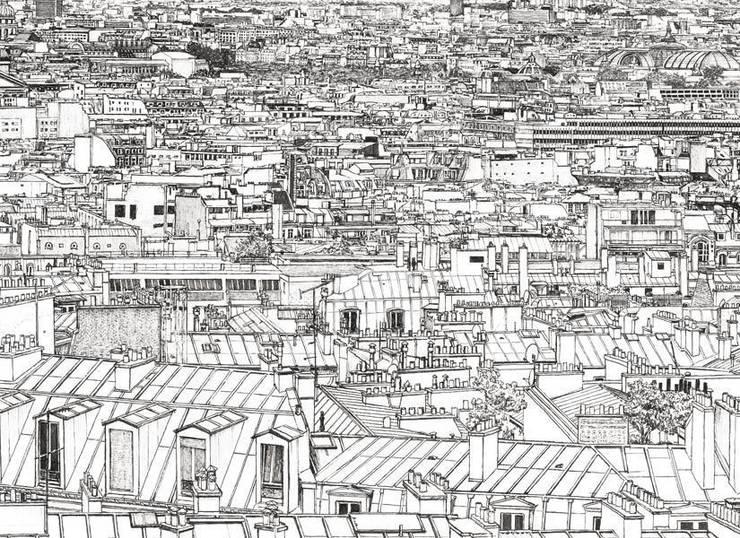 Papier peint Vue de Paris Invalides Tour Eiffel Panoramique: Murs & Sols de style  par Ohmywall