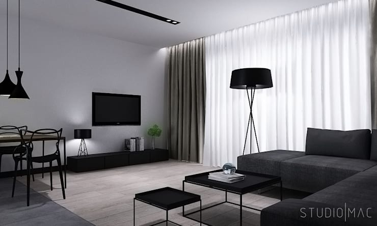 Projekt wnętrz domu jednorodzinnego: styl , w kategorii Salon zaprojektowany przez STUDIO MAC