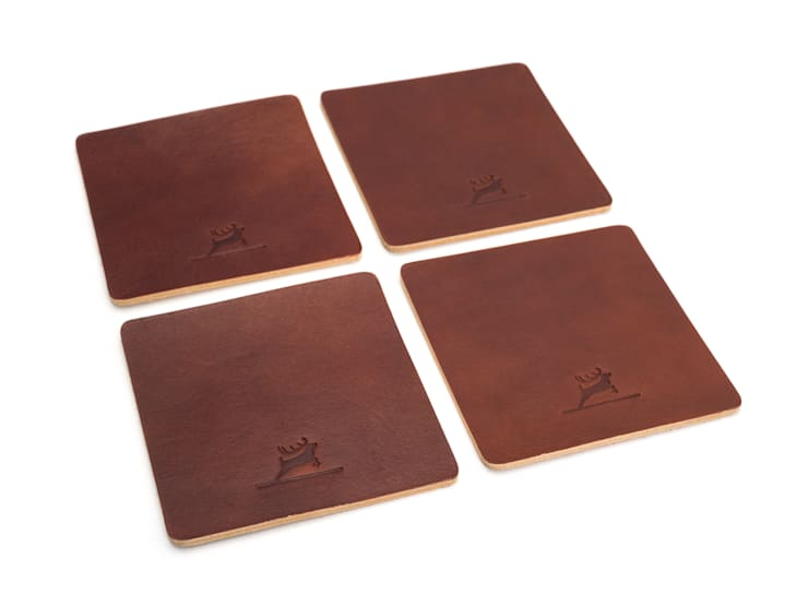Leather Coasters Brown:  Esszimmer von Rothirsch GmbH,