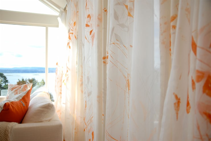 Curtain & Cushion commission for residential home in Norway.:  Living room by Michele Oberdieck Textile Design