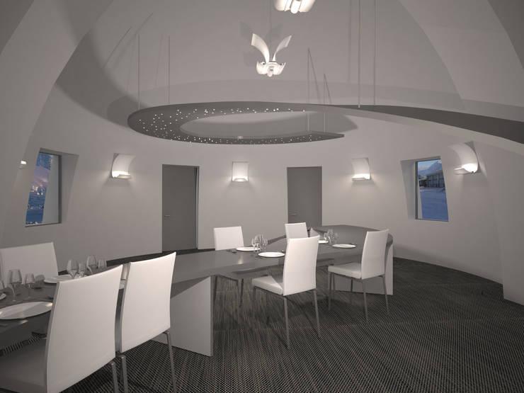 Le mobilier est l'élément central du restaurant, propre aux caractéristiques allouées aux pièces communes, il s'agit dune grande table qui sort du sol et parcourst la pièce en ondulant pour revenir en montant. ue restaurant 2: Maison de style  par AC architecture
