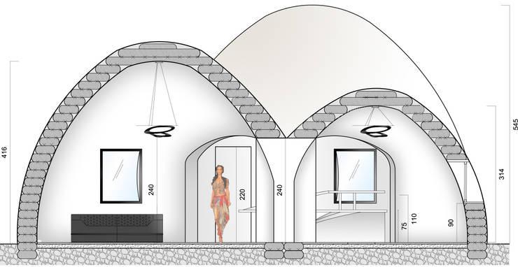 Coupe Récéption: Maison de style  par AC architecture