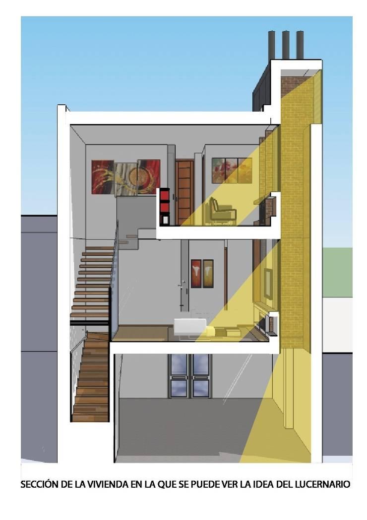 Sección de la vivienda por lucernario.:  de estilo  de ARQUISURLAURO S.L.P.