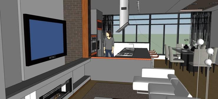 Vista del salón - comedor - cocina:  de estilo  de ARQUISURLAURO S.L.P.
