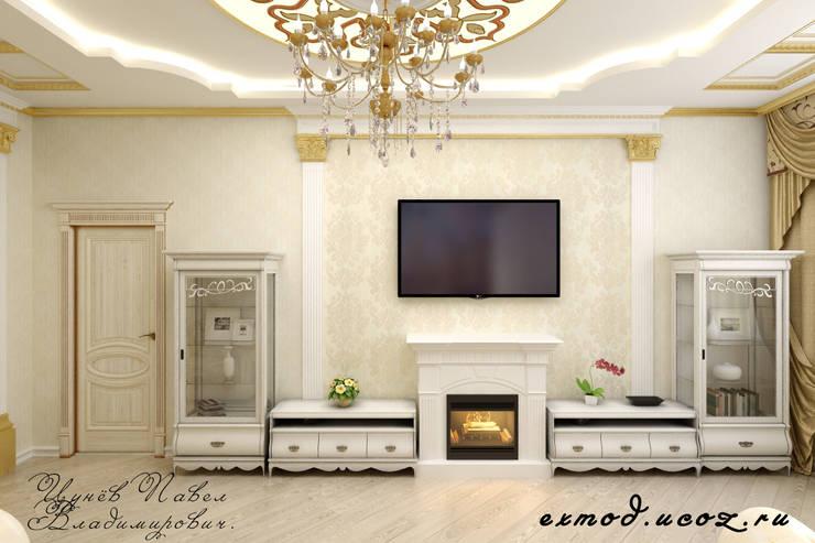 Квартира в Москве, гостиная.: Гостиная в . Автор – Цунёв_Дизайн. Студия интерьерных решений.,