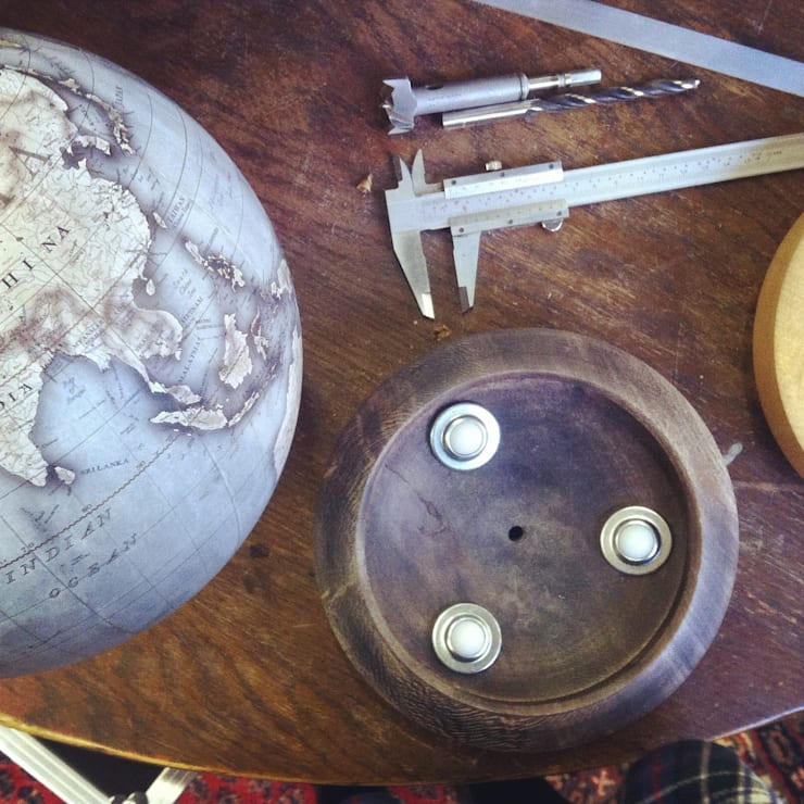 Roller bearings on the base allow for 360 degree movement:  Artwork by Bellerby and Co Globemakers