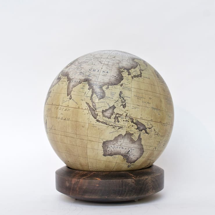 Ochre Mini Desk Globe with London Plane Albion Base:  Artwork by Bellerby and Co Globemakers
