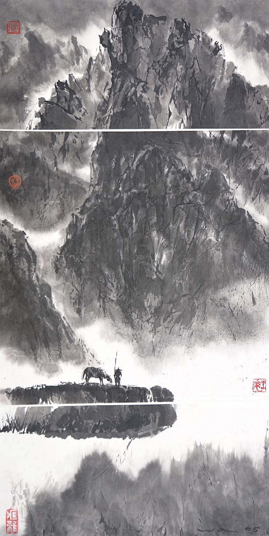 Encre de Chine Cavaliers solitaires 15 oeuvres taille variable par WONG WA Asiatique