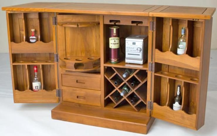Acacia/Teak Furniture: rustic Wine cellar by Mango Crafts