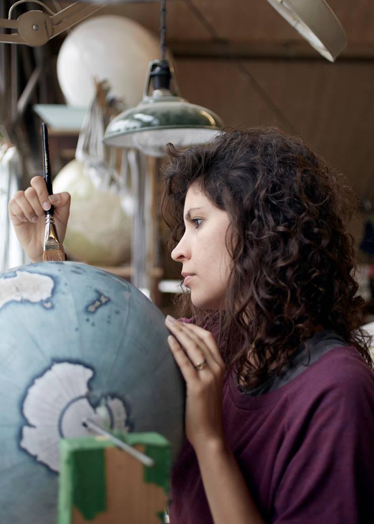 Livingstone being painted by Bellerby Globemakers:   by Bellerby and Co Globemakers