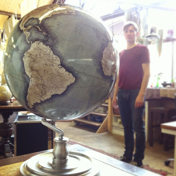 Livingstone Globe with Aluminium Base : Bellerby & Co :  Artwork by Bellerby and Co Globemakers