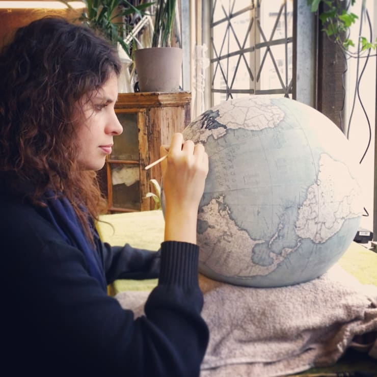 Globe being painted at Bellerby & Co, London:   by Bellerby and Co Globemakers