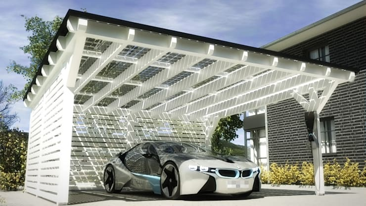 Garajes de estilo  por Solarterrassen & Carportwerk GmbH