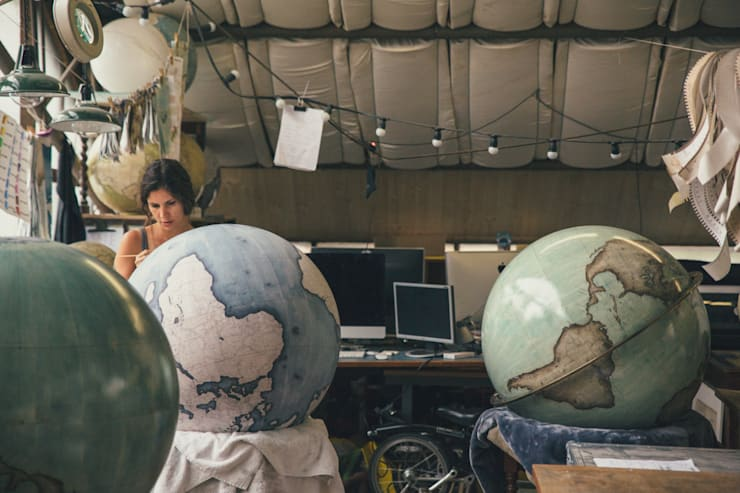 Isis painting an 80cm Globe, Bellerby & Co Globemakers:   by Bellerby and Co Globemakers