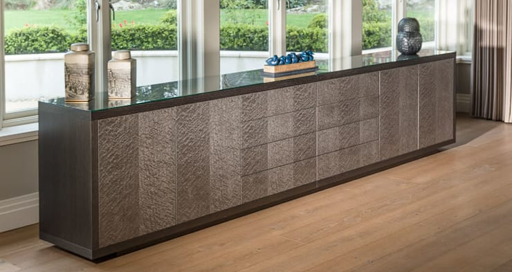Sideboard in Charcoal grey oak and grey birdseye maple:  Dining room by Martin Gallagher
