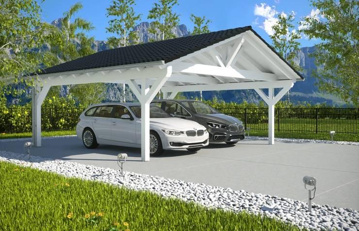 Easy Premium Spitzdachcarport: moderne Garage/Schuppen von Solarterrassen & Carportwerk GmbH