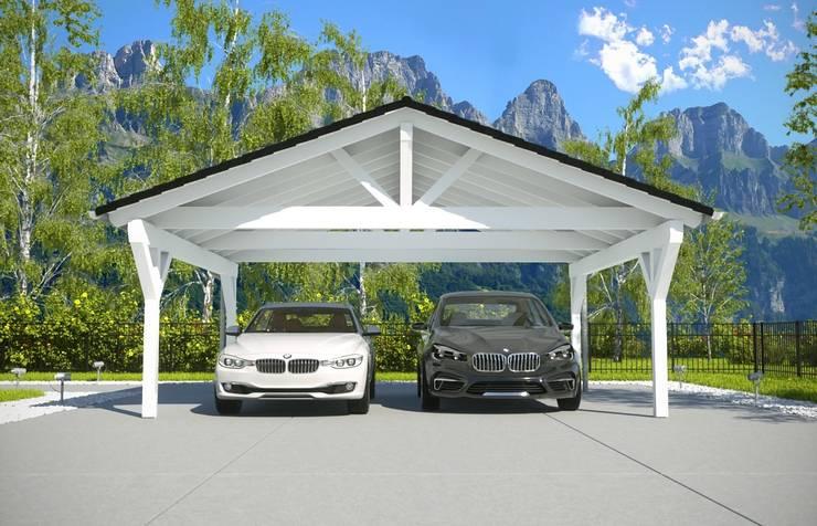 Garagem e edícula  por Solarterrassen & Carportwerk GmbH