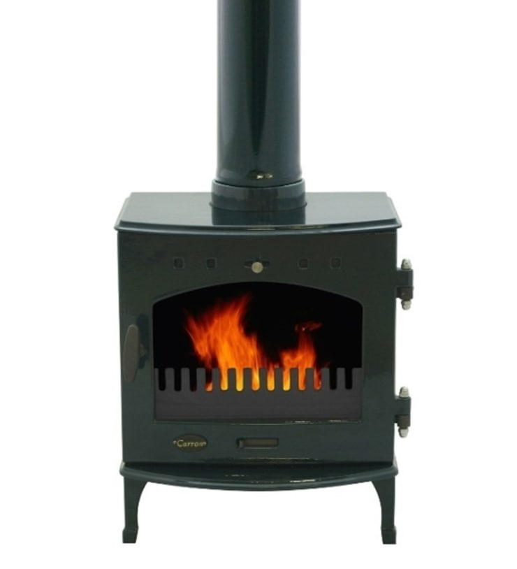 Carron Green Enamel 4.7Kw Multifuel DEFRA Approved Stove:  Living room by Direct Stoves