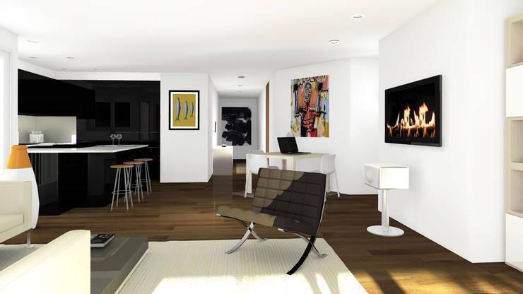 Appartement en attique, Suisse: Salon de style  par Sandra Hisbèque