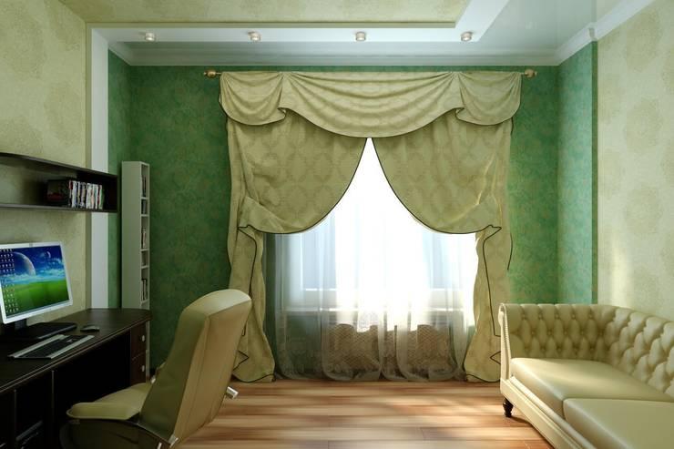Кабинет в современной классике: Рабочие кабинеты в . Автор – Цунёв_Дизайн. Студия интерьерных решений.,