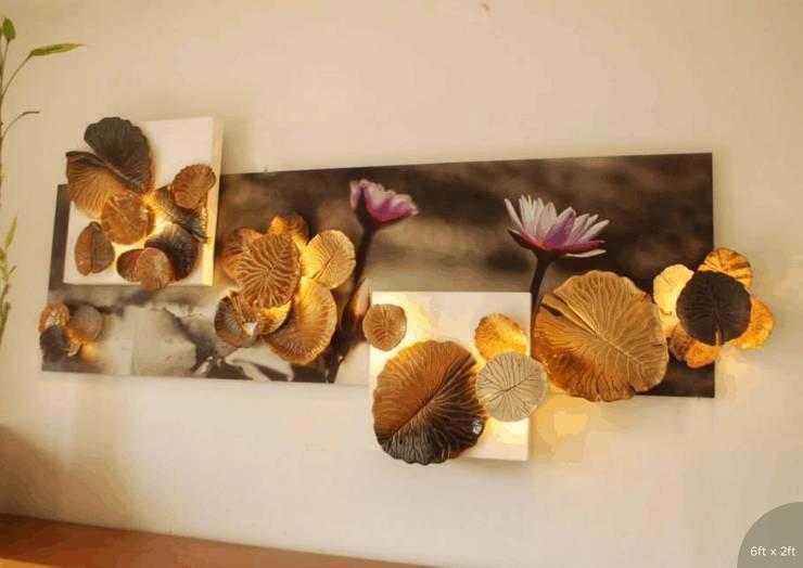 Lotus Ceramic Handmade Mural:  Corridor, hallway & stairs  by Morbi Elegance AND Balaji Wall Texture
